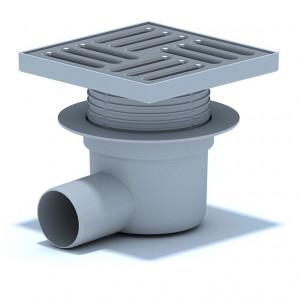 Трап горизонтальный выпуск 50 мм регулируемый с нержавеющей решеткой 15 х 15 см, сухой