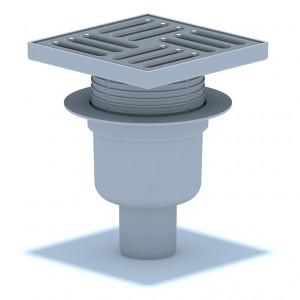 Трап вертикальный выпуск 50 мм регулируемый с нержавеющей решеткой 15 х 15 см, сухой