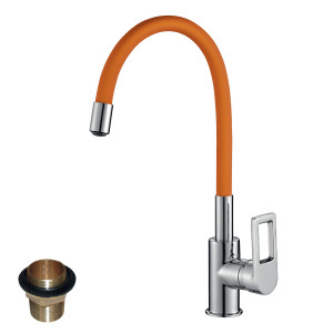 Смеситель Rossinka Z35-35U-Orange для кухни с гибким цветным изливом