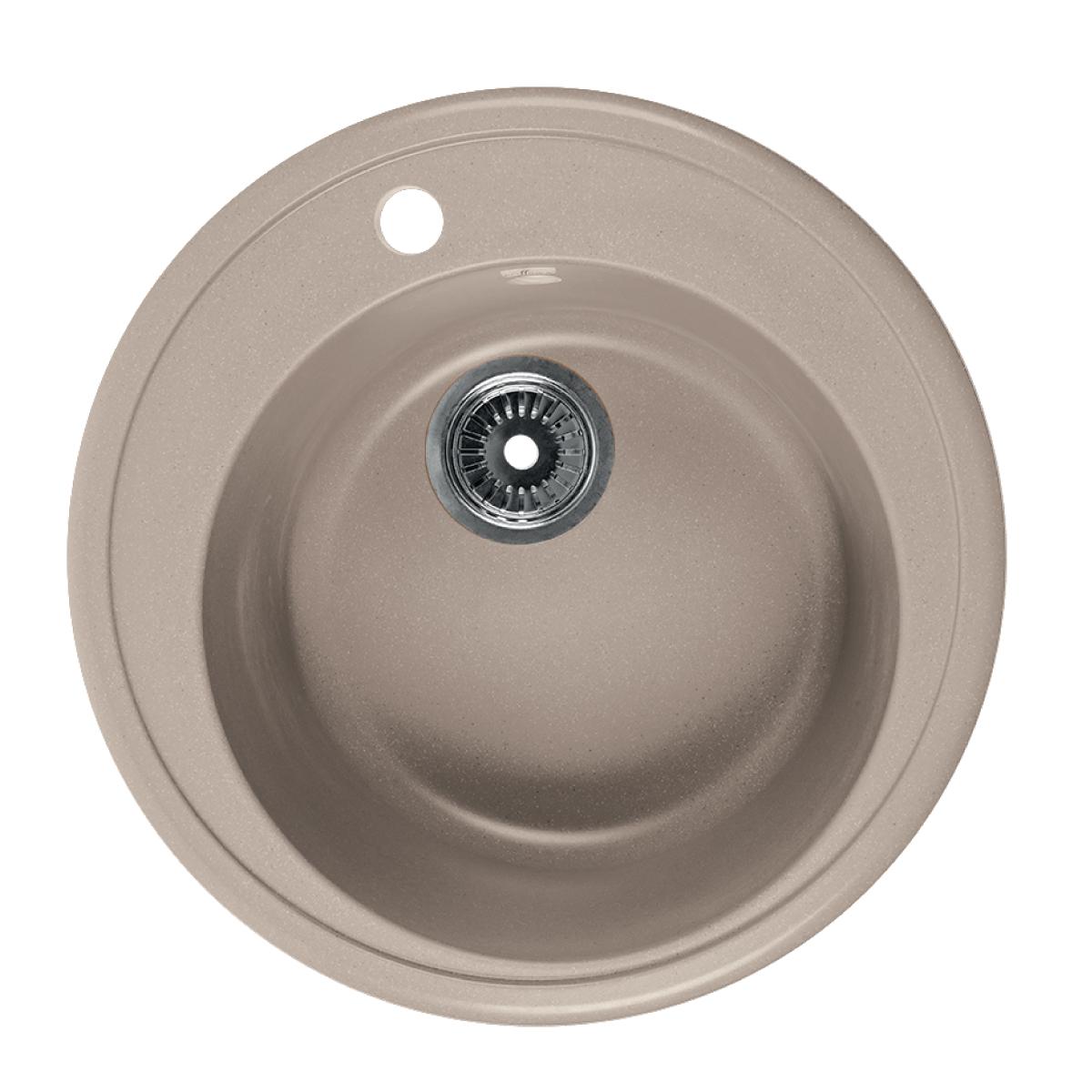 Мойка Rossinka для кухни из исскуственного камня круглая, с сифоном, RS51R-Beige