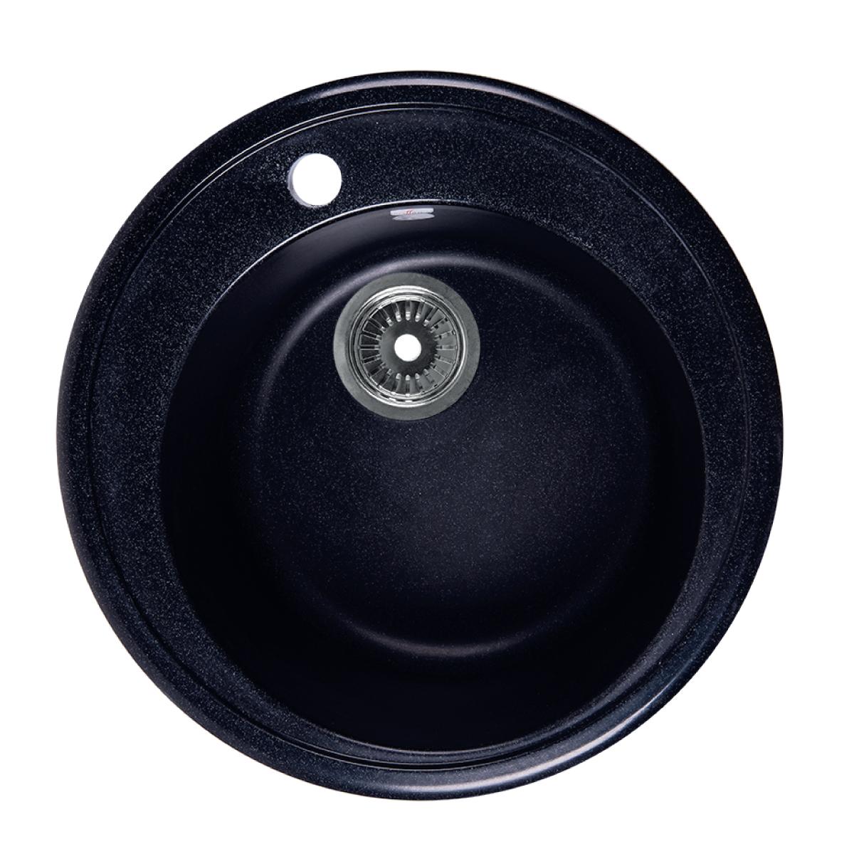 Мойка Rossinka для кухни из исскуственного камня круглая, с сифоном, RS51R-Black