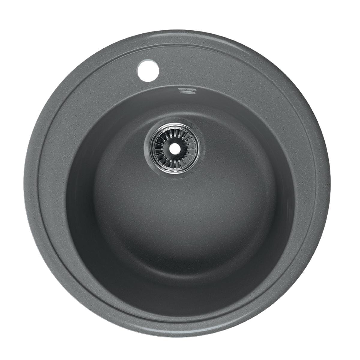 Мойка Rossinka для кухни из исскуственного камня круглая, с сифоном, RS51R-Gray