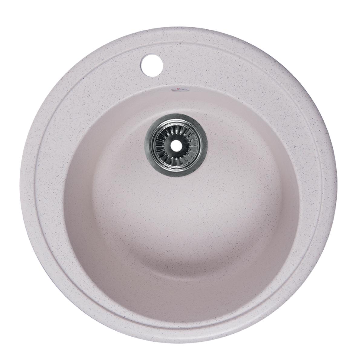 Мойка Rossinka для кухни из исскуственного камня круглая, с сифоном, RS51R-White