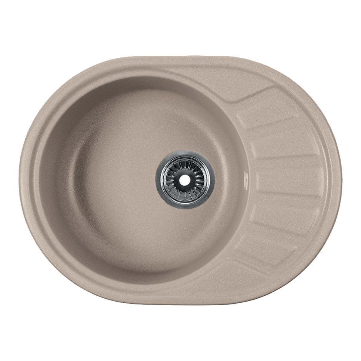 Мойка Rossinka для кухни из исскуственного камня круглая, с крылом, реверсивная, с сифоном, RS58-45RW-Beige
