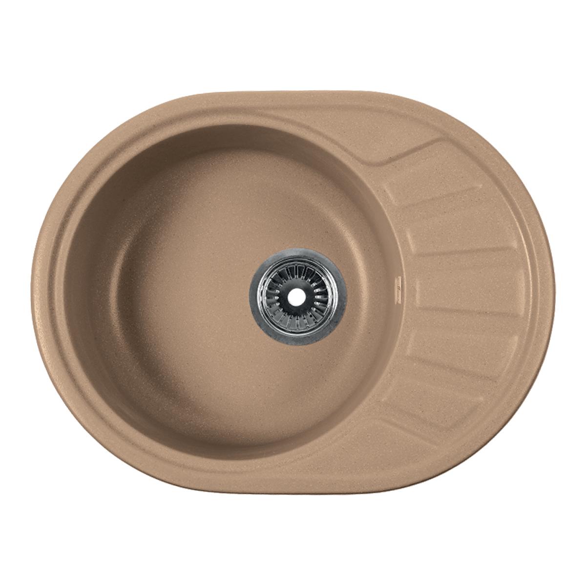 Мойка Rossinka для кухни из исскуственного камня круглая, с крылом, реверсивная, с сифоном, RS58-45RW-Sand
