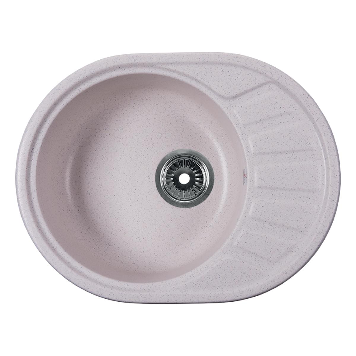Мойка Rossinka для кухни из исскуственного камня круглая, с крылом, реверсивная, с сифоном, RS58-45RW-White