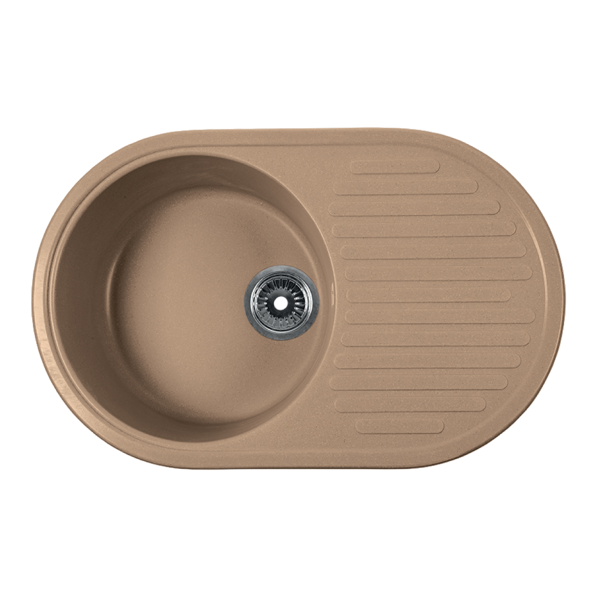 Мойка Rossinka для кухни из исскуственного камня круглая, с крылом, реверсивная, с сифоном, RS74-46RW-Sand