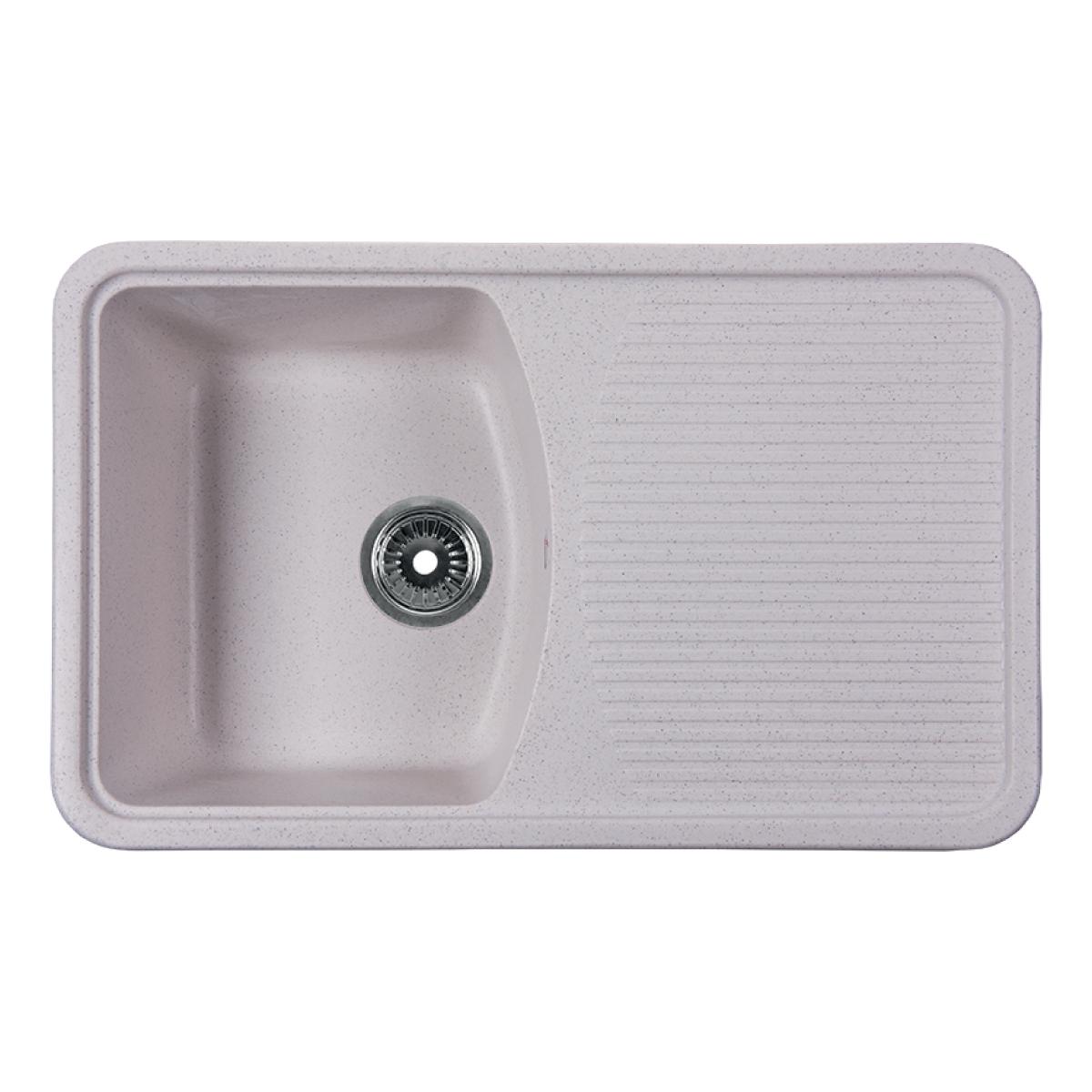 Мойка Rossinka для кухни из исскуственного камня квадратная, с крылом, реверсивная, с сифоном, RS76-47SW-White